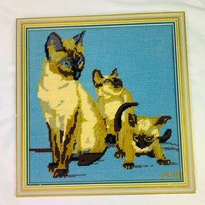 Vintage 1979 Siamese Cat Wall Art